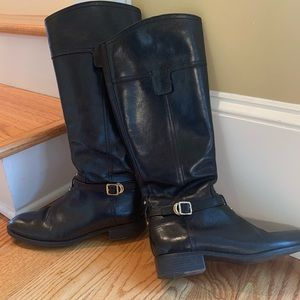 Black leather Tory Burch riding boots GUC